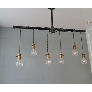 Brass 6-Light Cascade Pendant by West Ninth Vintage