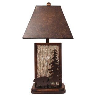 Dorothy Poplar Bark with Iron Bear and Tree Accent 30 Table Lamp