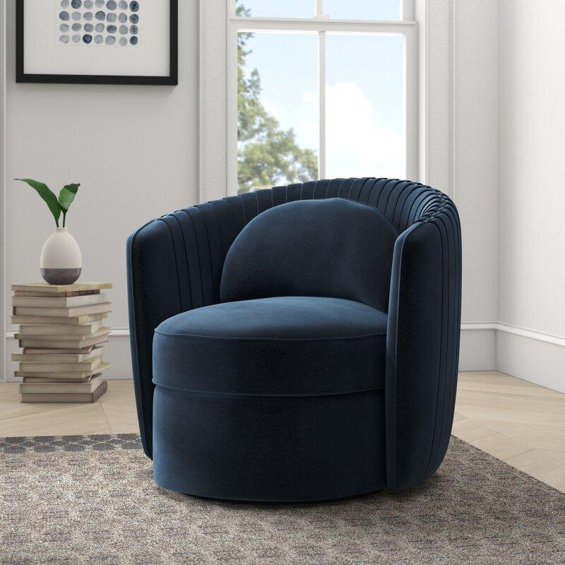Allmodern Gowanus 33 Wide Polyester Swivel Barrel Chair Reviews Wayfair