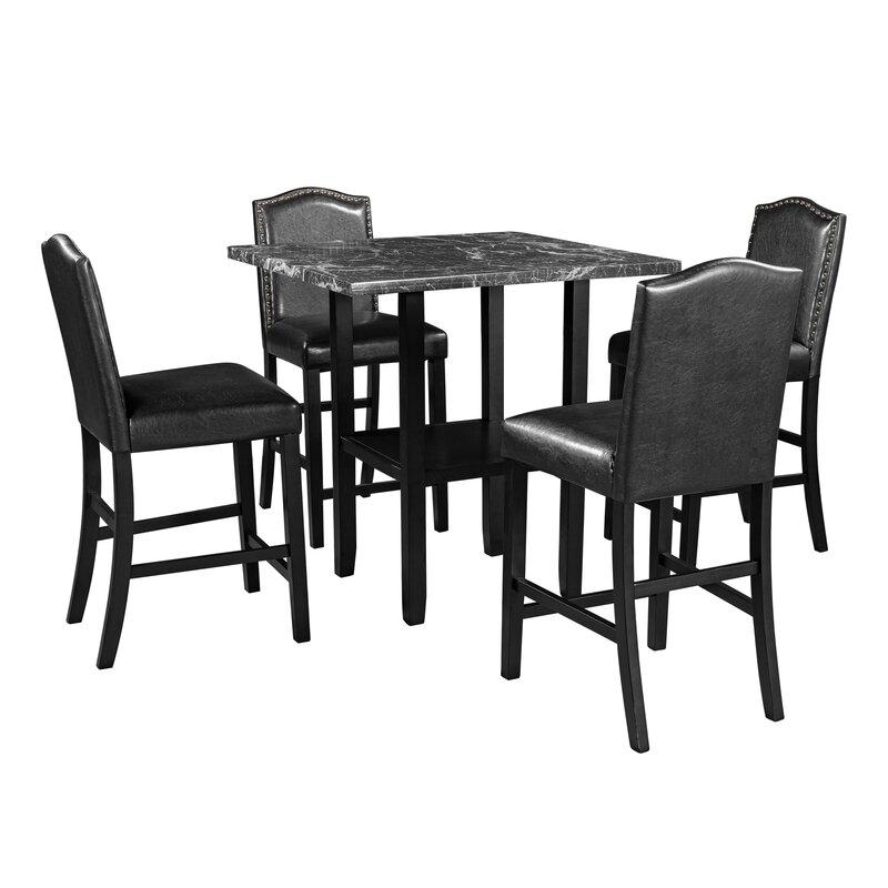 Red Barrel Studio Blaz 5 - Piece Counter Height Breakfast Nook Dining Set