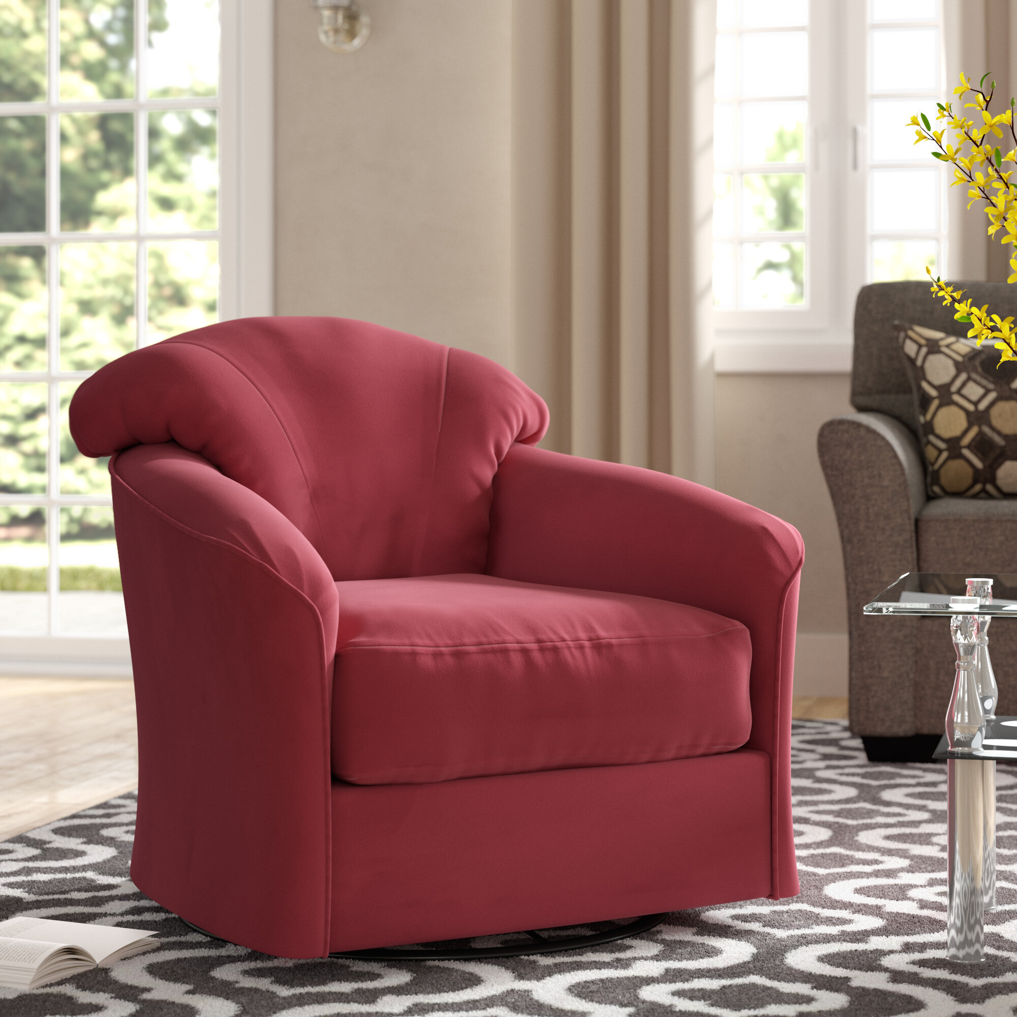 Picture of: Klaussner Furniture Exeter Swivel Barrel Chair Reviews