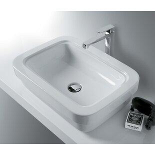 Leavitt Ceramic Rectangular Vessel Bathroom Sink with Overflow Bissonnet