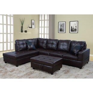 Dark Brown Leather Sectional   Wayfair