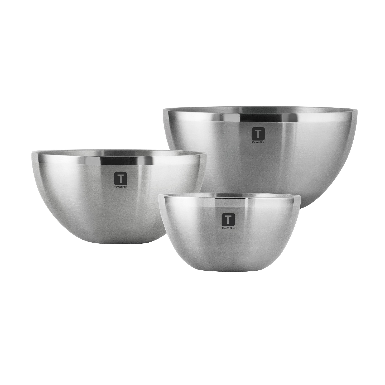 Tramontina Gourmet Double Wall 3 Piece Stainless Steel Mixing Bowl Set Reviews Wayfair