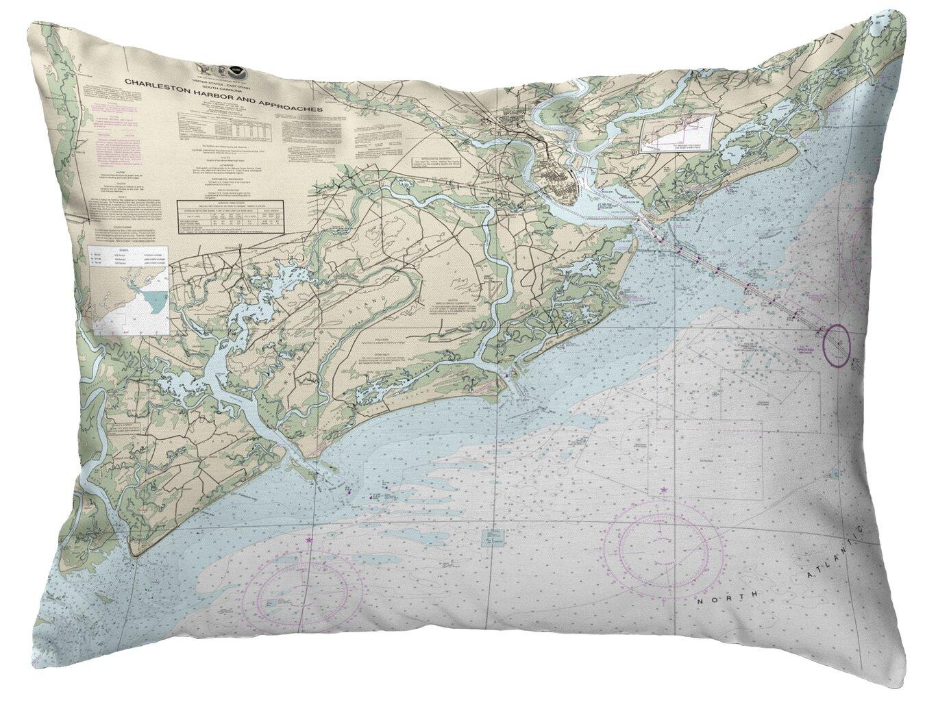Highland Dunes Jazmine Charleston Harbor And Approaches Sc Nautical Map Indoor Outdoor Lumbar Pillow Wayfair