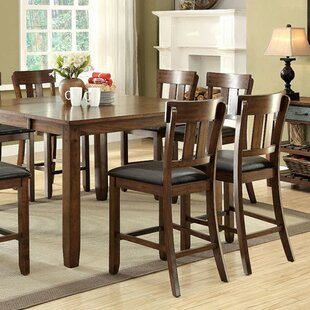 Cheever Transitional Counter Height Solid Wood Dining Table Loon Peak