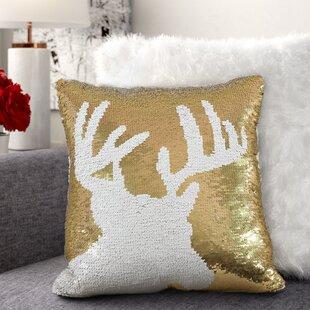 Alandra Sequin Reindeer Holiday Christmas Throw Pillow