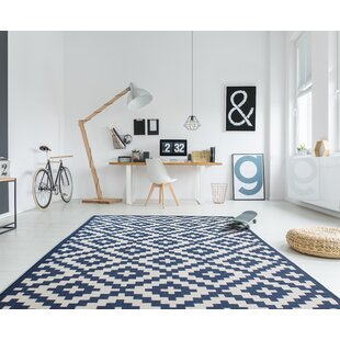 Best Reviews Deckland Moroccan Trellis Blue/White Indoor/Outdoor Area Rug By Union Rustic