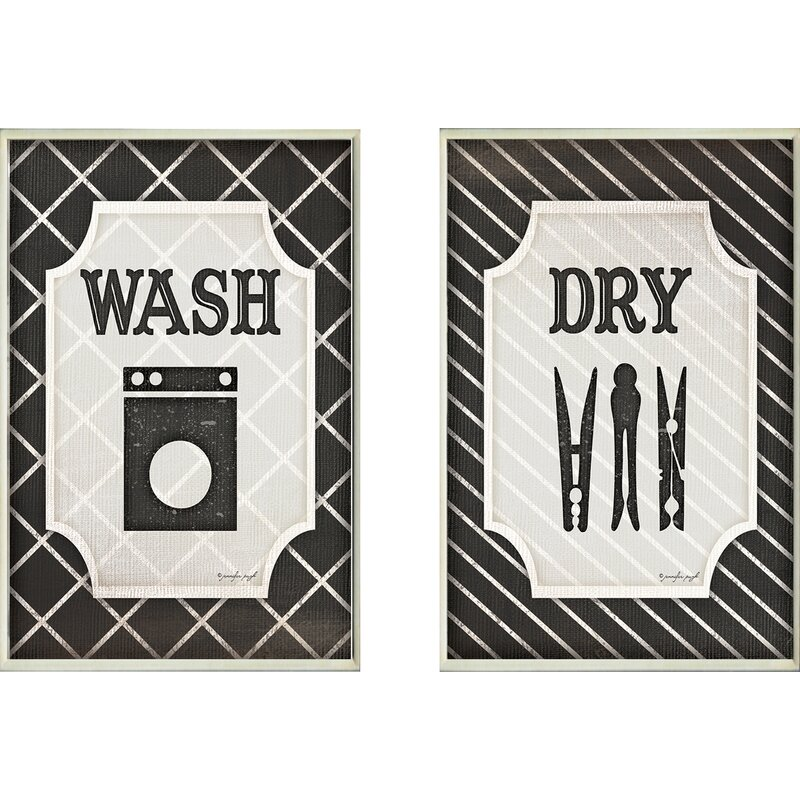 'Wash and Dry' Black and White Laundry Wall Plaque