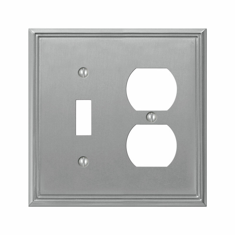 Amerelle Metro 2 Gang Duplex Outlet Toggle Light Switch Combination Wall Plate Wayfair