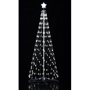 outdoor white led cone tree with collapsible base and wireless remote
