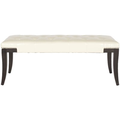 Adele Wood Bench Upholstery: Bicast Leather Cream by Alcott Hill