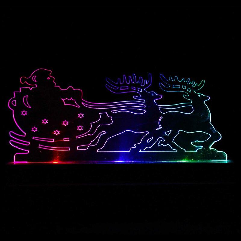 Beleuchteter Schlitten Weihnachtsdeko.Weihnachtsdekoration Weihnachtsmann Im Schlitten Mit Rentieren
