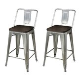 Higden Middle Back Metal 24 Bar Stool (Set of 2) by 17 Stories