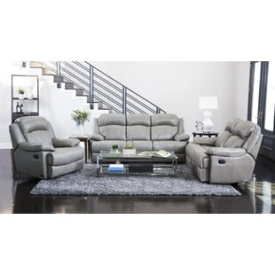 Volkman Reclining 3 Piece Leather Living ..