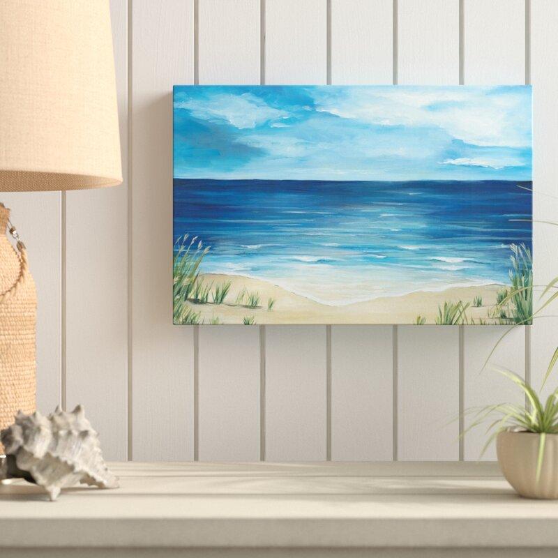 Highland Dunes Peaceful Beach Scene Acrylic Painting Print Canvas Wayfair