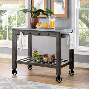 Gracie Oaks Marez Distressed Kitchen Island