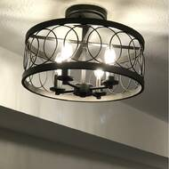 Gracie Oaks Carreiro 4 Light 15 5 Caged Drum Semi Flush Mount Reviews Wayfair