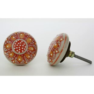 Floral Design Embossed Flat Ceramic Mushroom Knob