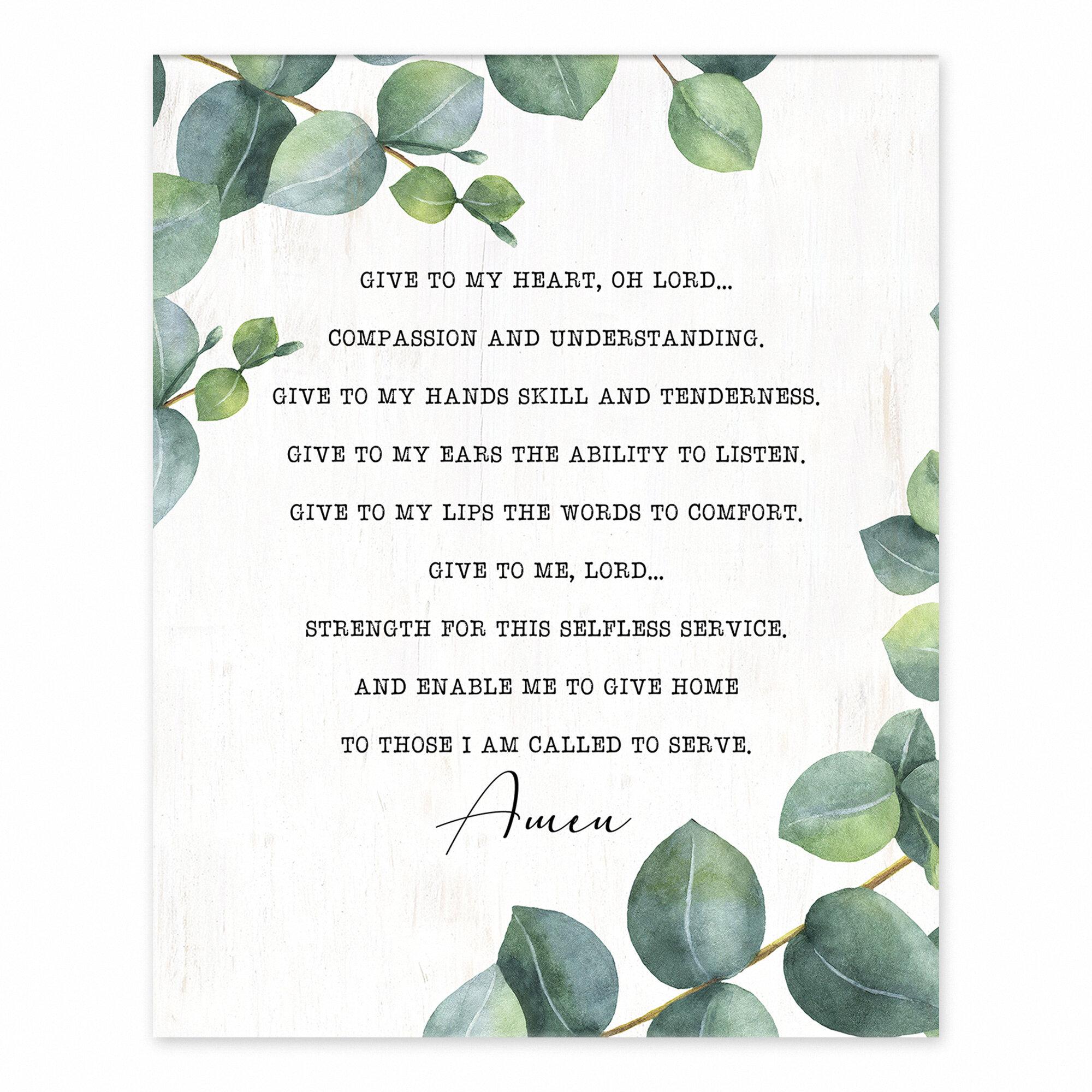 Trinx Nurse S Prayer Easelback Decorative Plaque Wayfair