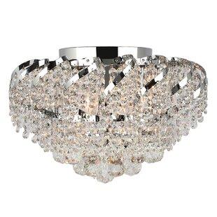 House of Hampton Carson 3-Light Glass Shaded Flush Mount