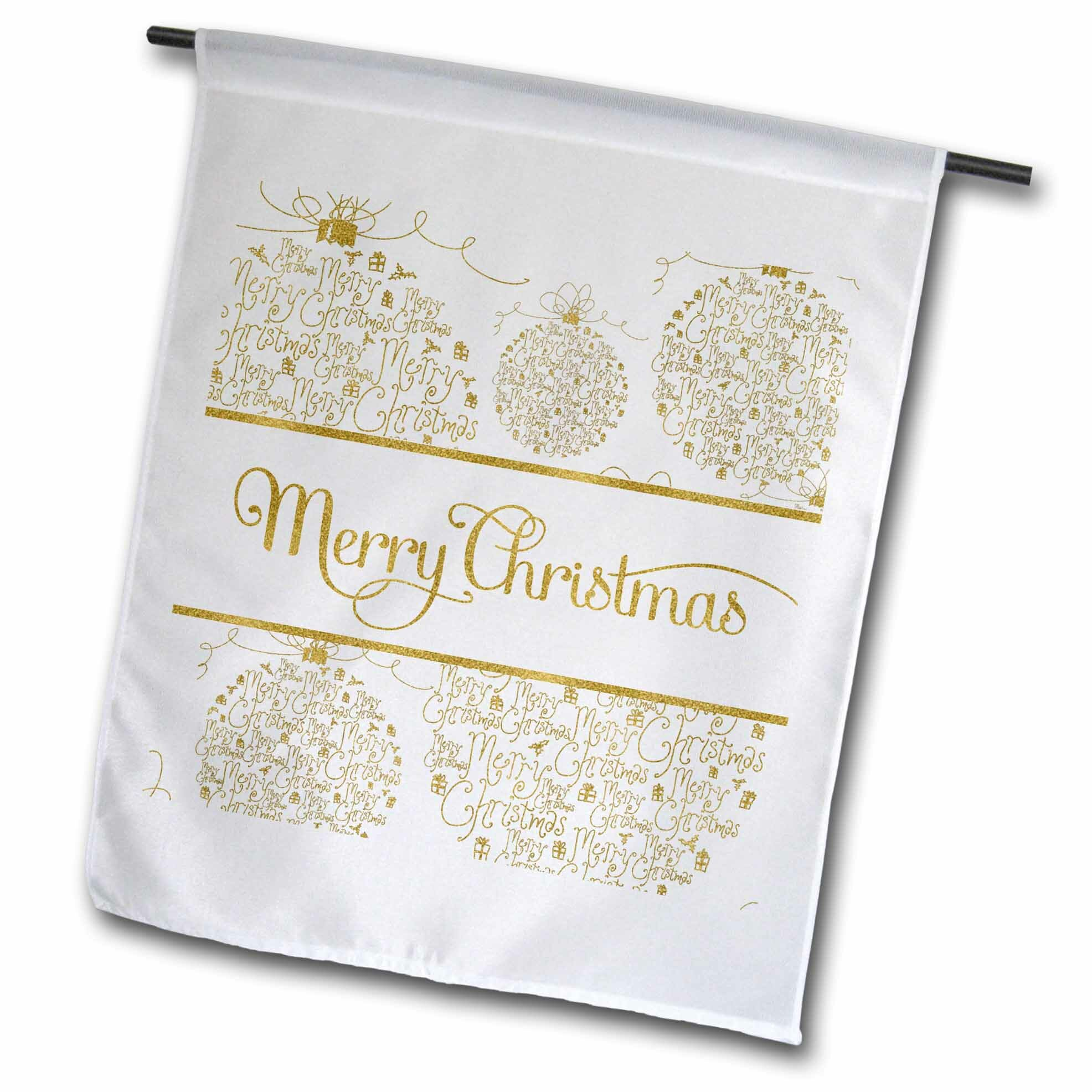 3drose Faux Leaf Merry Christmas With Word Art Ornaments On Polyester 18 X 12 In Garden Flag Wayfair