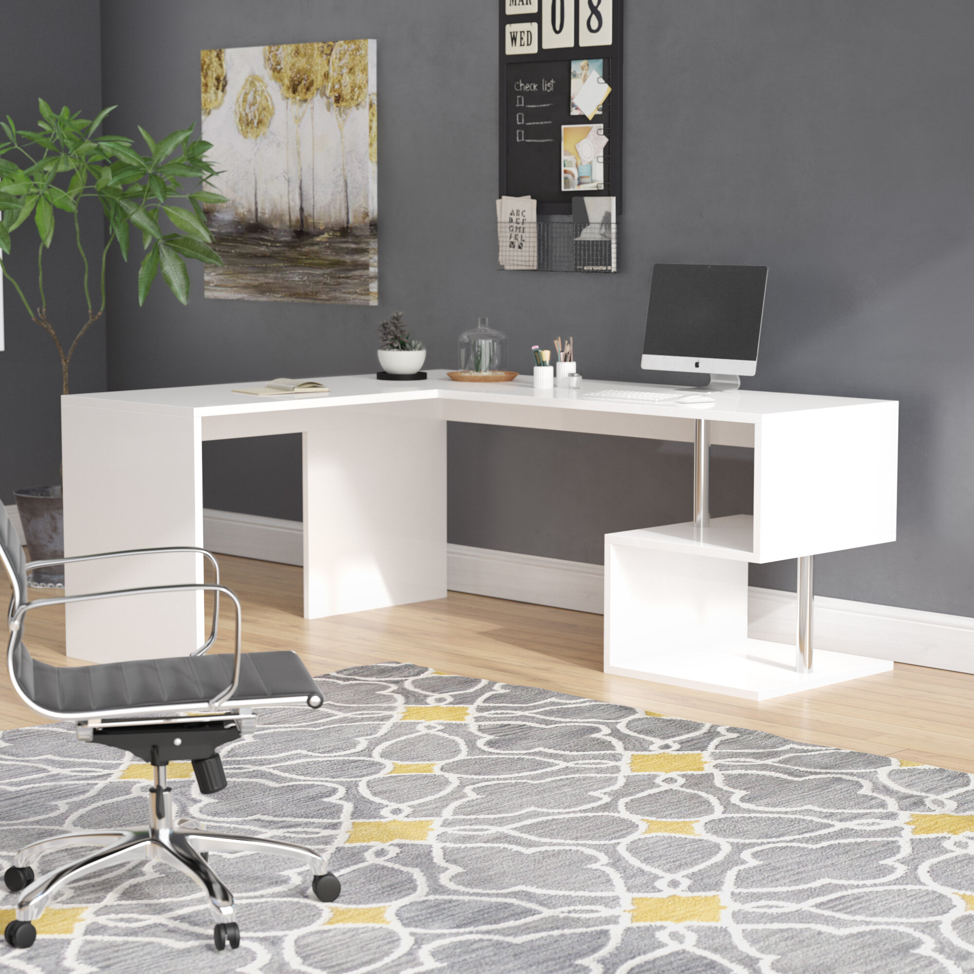 Ivy Bronx Mbolu L Shape Executive Desk Reviews Wayfair Co Uk