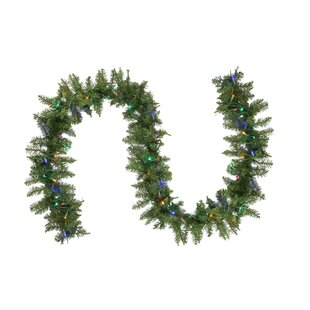 9' Northern Pine Artificial Christmas LED Pre-Lit Garland with 50 Multi-Colored Lights