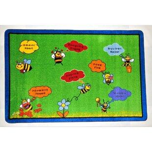 Hartsville Spelling Bee Power Loomed Green Area Rug ByZoomie Kids