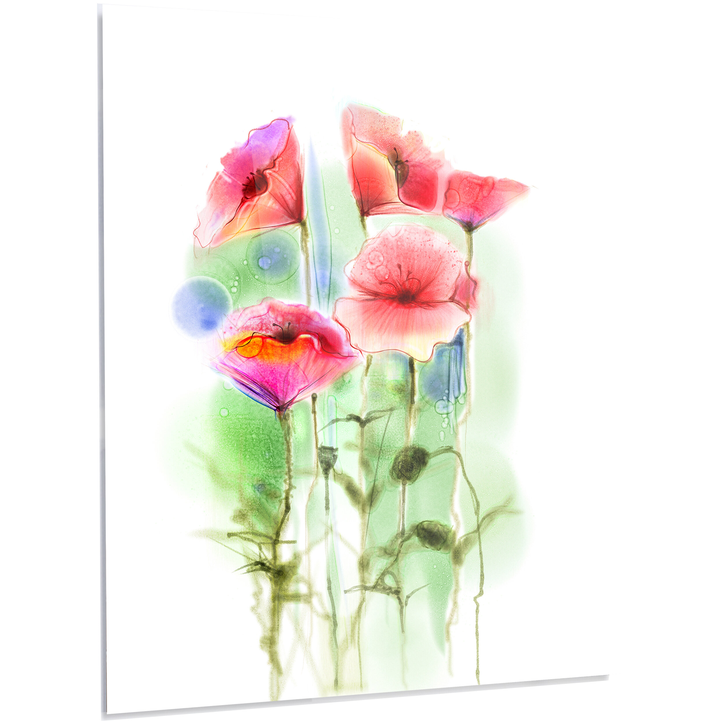designart red poppy flowers watercolor sketch led graphic art on