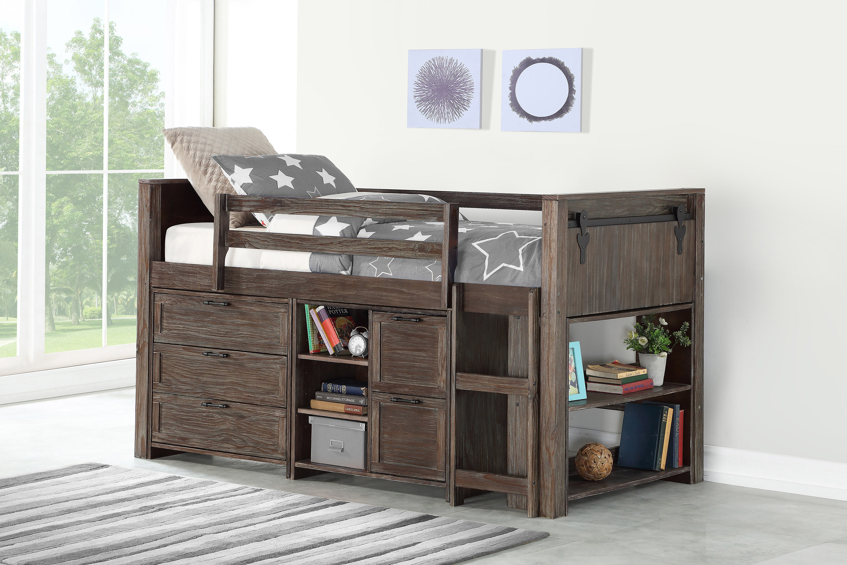 Harriet Bee Ivanna Twin Loft Bed With Drawers And Bookcase Wayfair