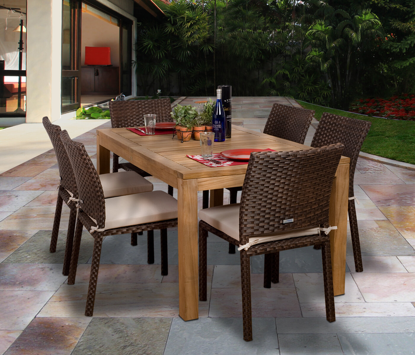 Beachcrest Home Arango 7 Piece Teak Dining Set With Cushions Reviews Wayfair