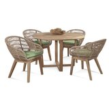 5 Piece Teak Dining Set with Cushions