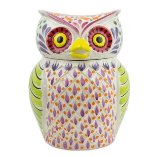 Colorful Owl Theme Majolica Cookie Jar
