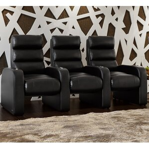 Bonded Leather Manual Rocker Recline Home Theater Sofa (Row of 3) by Freeport Park