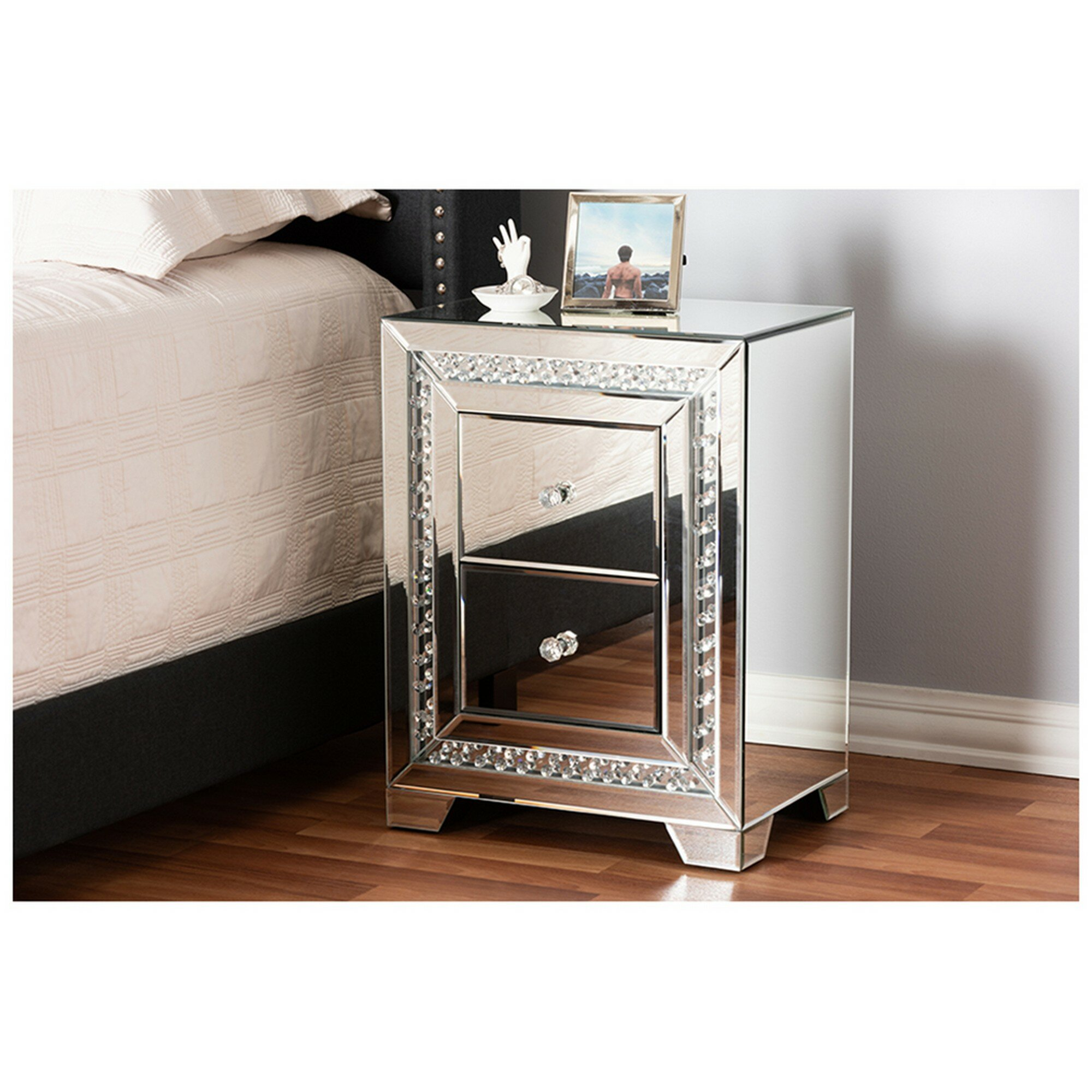 Canby Mirrored 2 Drawer Nightstand