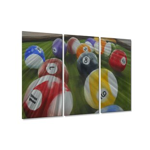 Billiards Game Room by Rick Peterson 3 Piece Painting Set by All My Walls