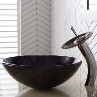 Read Reviews Copper Glass Circular Vessel Bathroom Sink with Faucet By Kraus