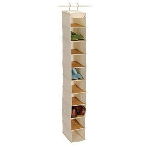 Savings Bamboo and Natural Canvas Storage 10 Shelf Shoe Organizer By Richards Homewares