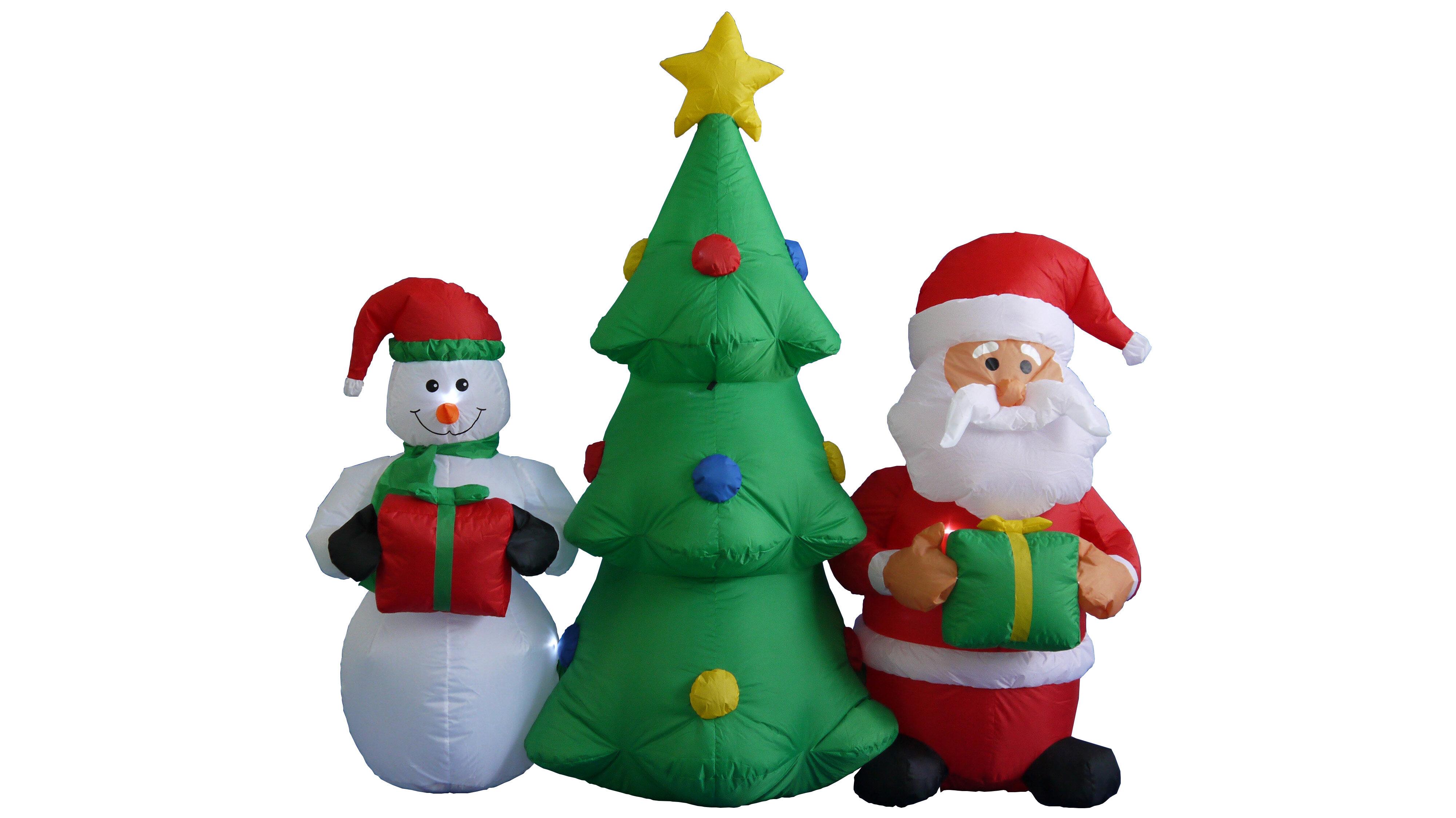 The Holiday Aisle 5 Ft Christmas Tree Santa Snowman Decoration Inflatable Wayfair