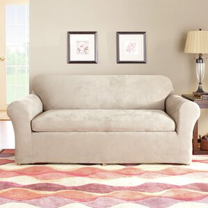 Stretch Suede Separate Seat Box Cushion Sofa Slipcover by Sure Fit