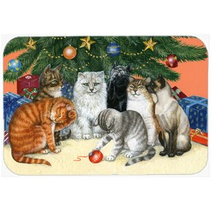 Cats under the Christmas Tree Glass Cutting Board