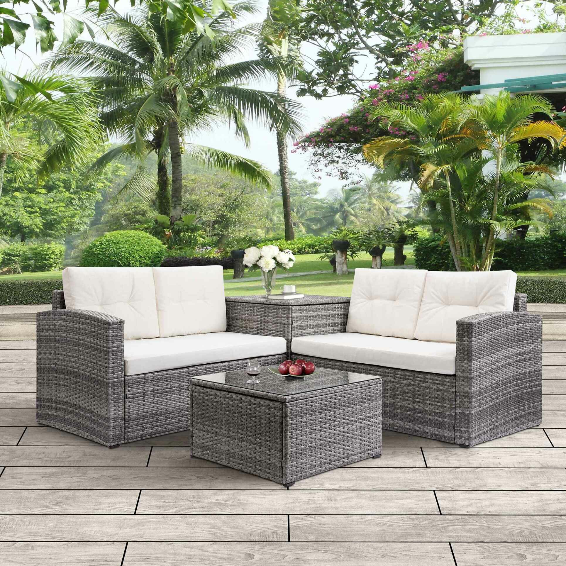Merax 4 Piece Rattan Sofa Seating Group