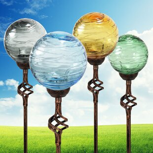 Lovely Dismuke Solar Hairline Glass And Metal Orb Garden Stake (Set Of 4)