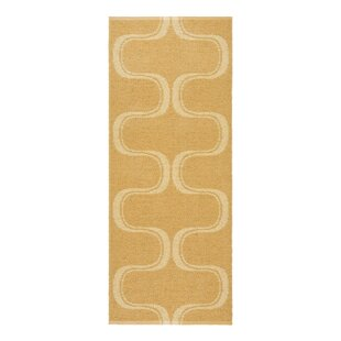 Waves Yellow Indoor/Outdoor Area Rug by Swedy
