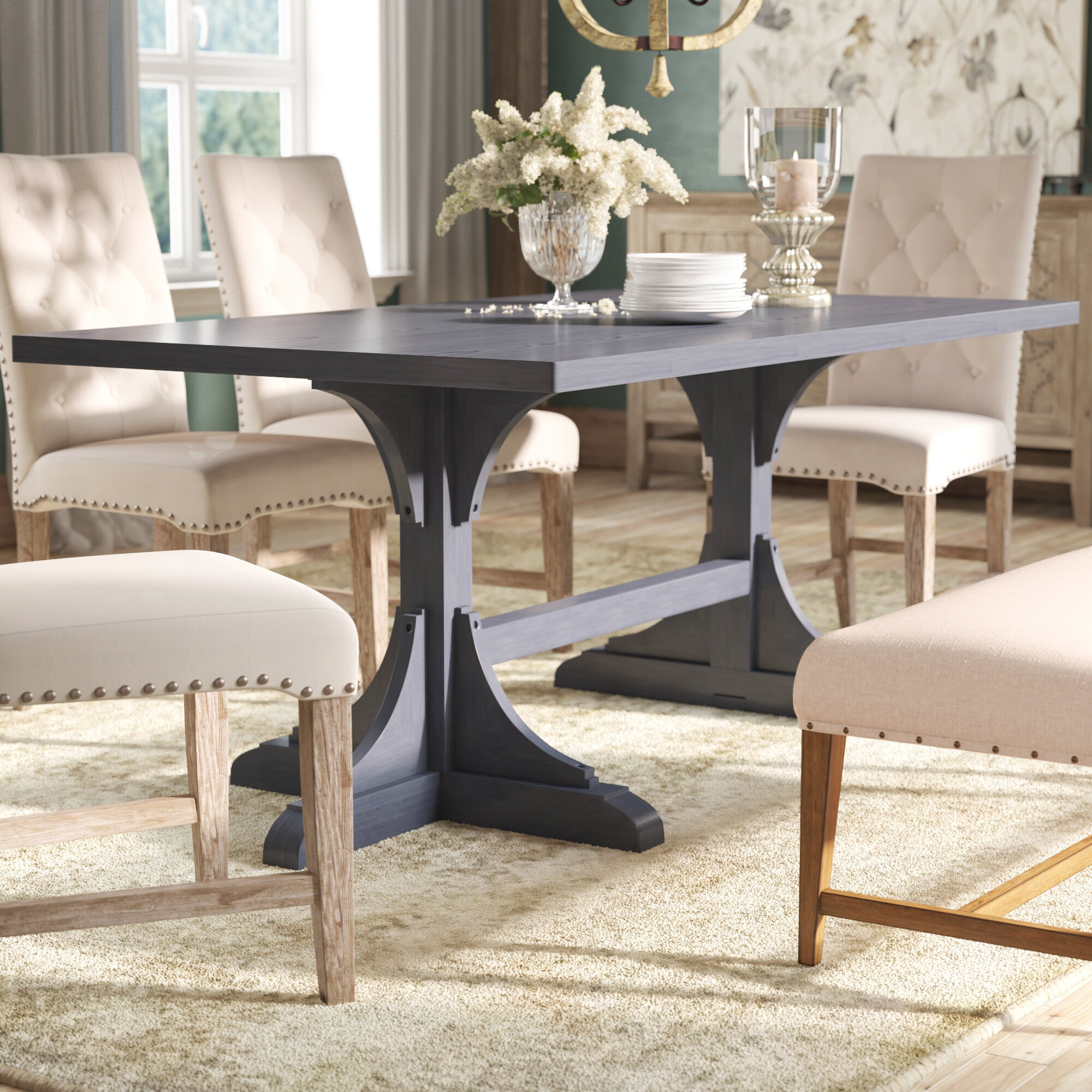 Darby Home Co Harristown 9'' Trestle Dining Table & Reviews   Wayfair