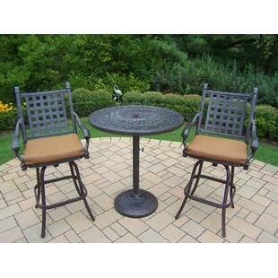 Vandyne 3 Piece Bar Height Dining Set with Cushions