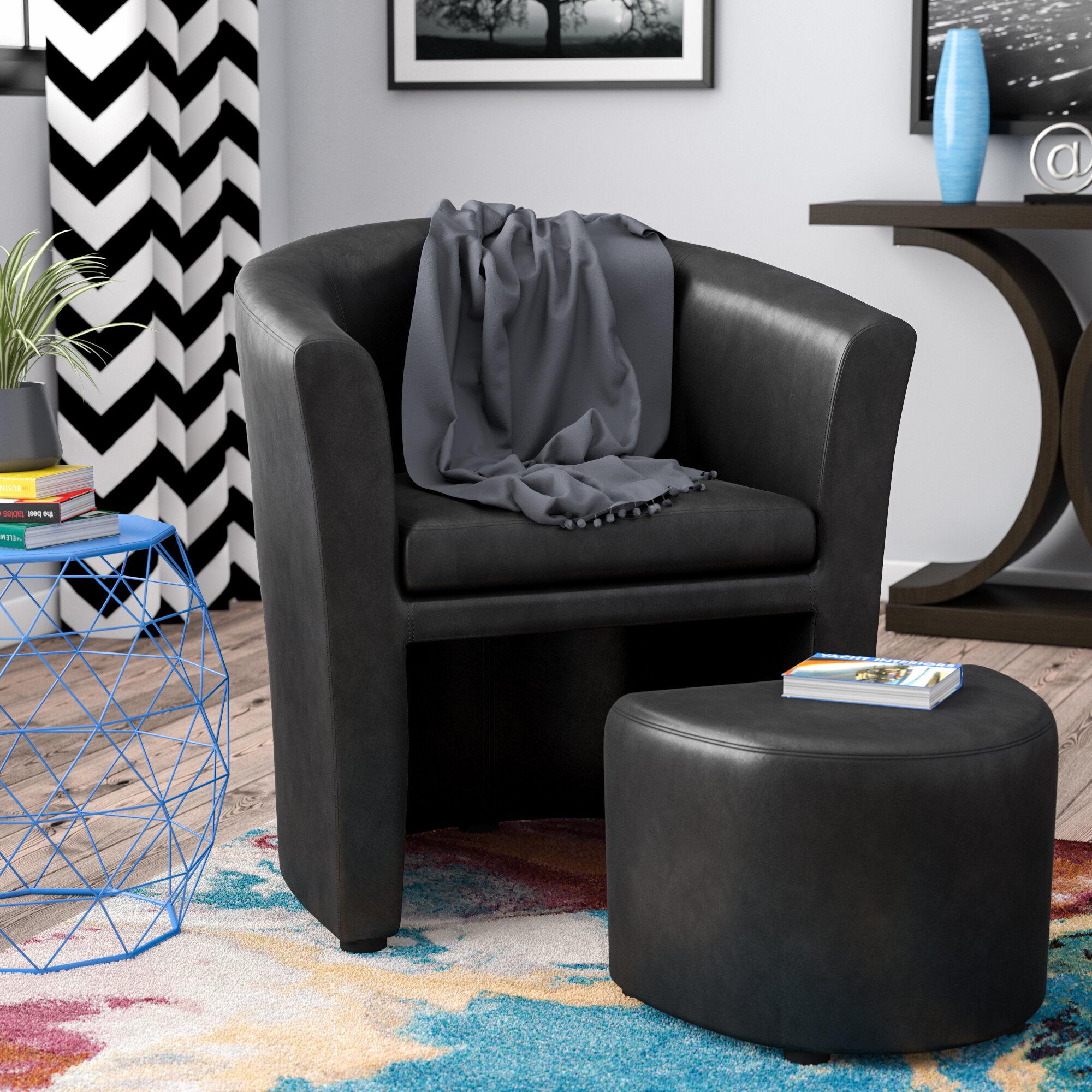 Ebern Designs Cordie Barrel Chair And Ottoman U0026 Reviews | Wayfair