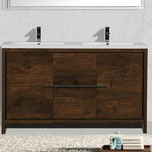 Almendarez Free Standing Modern 59″ Double Bathroom Vanity Set