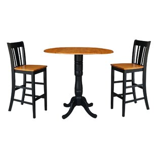 Naugatuck Round Top Pedestal Extending 3 Piece Pub Table Set